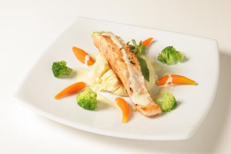 Steak sauce , white fish on a white background Stock Photo