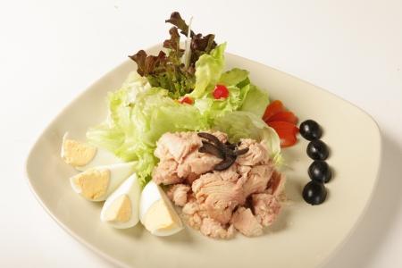 Tuna salad on a white background