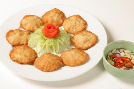 Pork dumplings on a white background