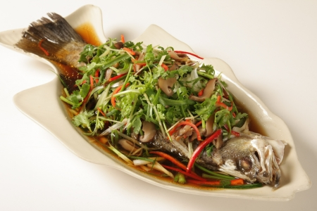 Snapper steamed soy on a white background Stock Photo