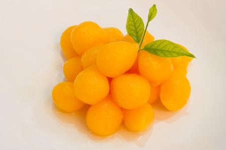 Ball Thai dessert on a white background