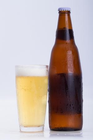 Beer mug shot white background Stock Photo