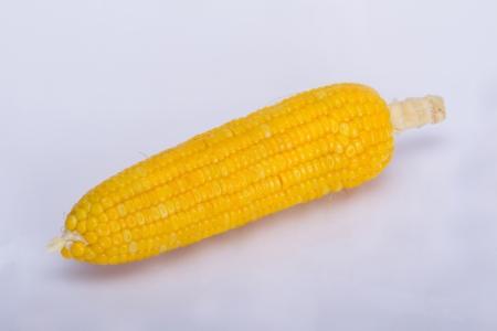 Shelled corn is roasting on white background