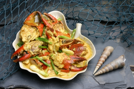 Fried crab with curry powder Seafood Stock Photo