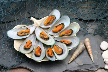 Baked mussels  Placed on the stone
