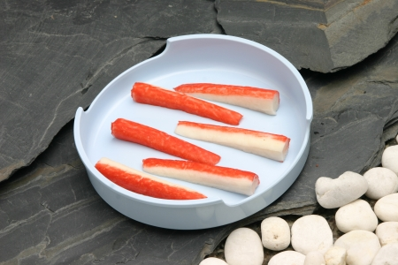 crabmeat: Crab Placed on the stone Stock Photo