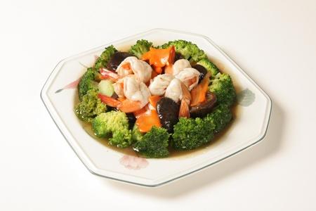 Shrimp Fried Broccoli blocks Stock Photo