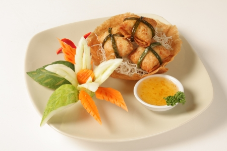 Fried pork dumplings With plum sauce Stock Photo