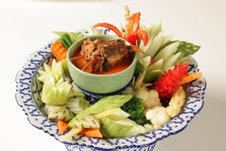 Fried crab with fresh vegetables  Thailand food Stock Photo