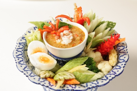 flatulence: Fried shrimp with fresh vegetables Thailand food Stock Photo