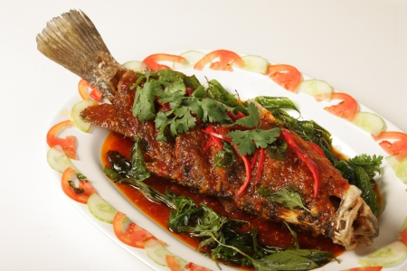 Snapper topped with chili  Thailand food