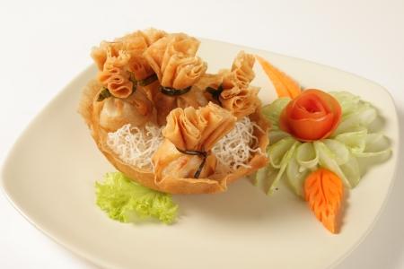 Pork fried wonton wrappers  Thailand food Stock Photo