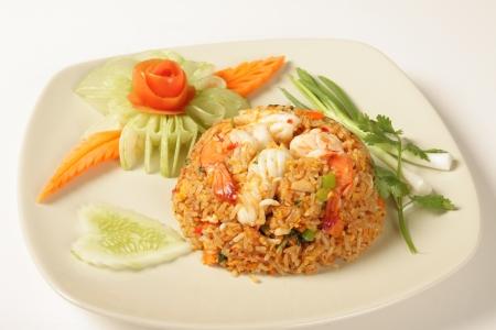 Basil Fried Rice with Shrimp Thailand food