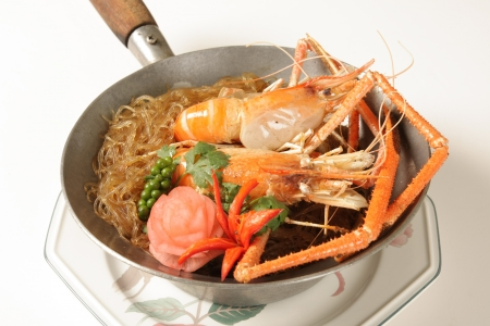Baked Prawns with vermicelli Stock Photo
