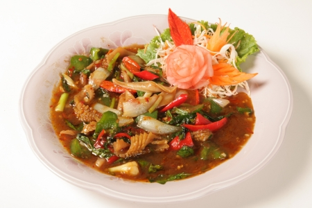 Fried squid curry Food of Thailand