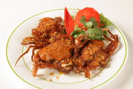 Soft shell crab with garlic and pepper photo