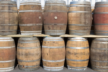 Wine barrels arranged In the area of the restaurant