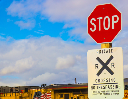 Stop Sign At Private Railroad Crossing Stock Photo - 73621005