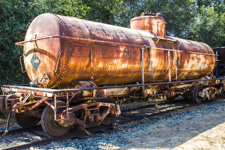 operative: Vintage Rusted Tanker Railroad Car