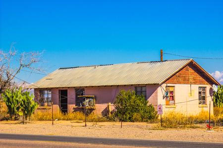 trepassing: Abandoned Home In Arizona Desert Stock Photo