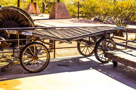 spokes: Vintage Luggage Cart At Old Railroad Station