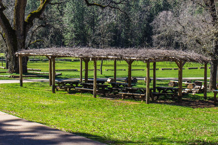 seating area: Branch Covered Picnic Area At Local Indian Grounds