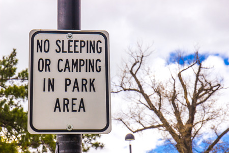 sign: No Sleeping Or Camping Sign In Park