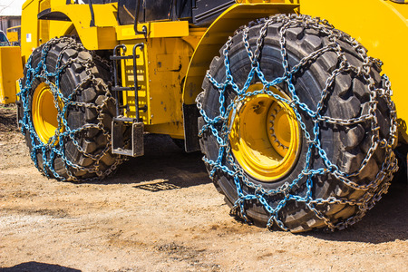traction: Snow Tires With Chains On Bulldozer