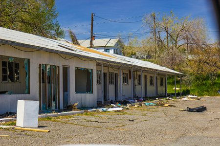 lattice window: Abandoned Motel Units Vandalized