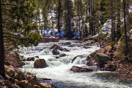 Mountain Stream Rushing From Snow Melt