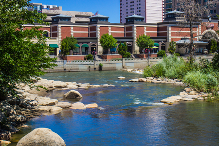 Truckee River In Reno, Nevada Next To River Walk