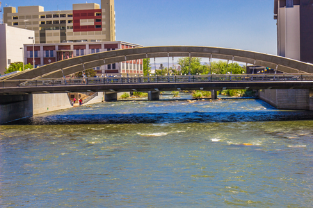 One Of Many Bridges Crossing Truckee River In Downtown, Reno, Nevada