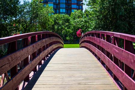 reno: Wooden Walking Bridge Over Truckee River In Reno, Nevada