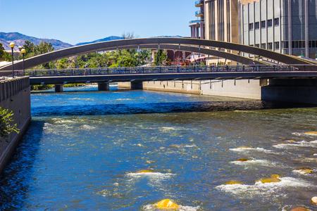 reno: Pedestrian & Traffic Bridge Crossing The Truckee River
