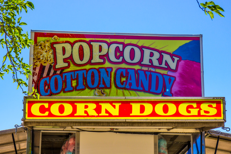 Refreshment Sign At Local County Fair Stock Photo