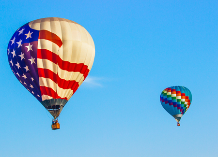 Patriotic American Flag Hot Air Balloon With Multi Striped Balloon Stock Photo