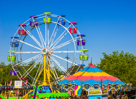 Amusement Rides At Small County Fair Stock Photo
