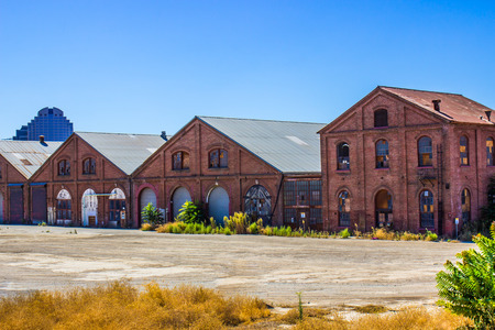 Vintage Brick Buildings At Railroad Maintenance Yard