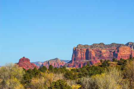 Red Rock Mountain Buttes Overlooking Arizona Valley