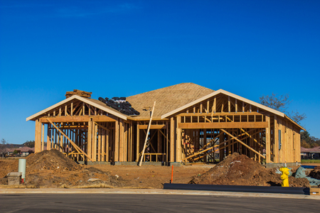 Framing Of New Home Construction Stock Photo