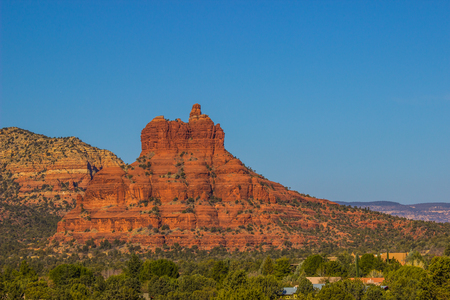 Red Rock Mountain Outcropping In Arizona Desert Stock Photo