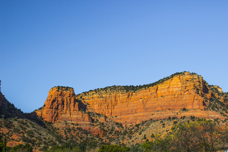 Red Rock Formations At Sunset In Arizona Mountains