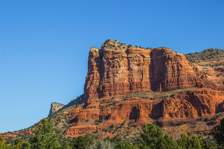 Red Rock Mountain Butte With Sheer Cliffs