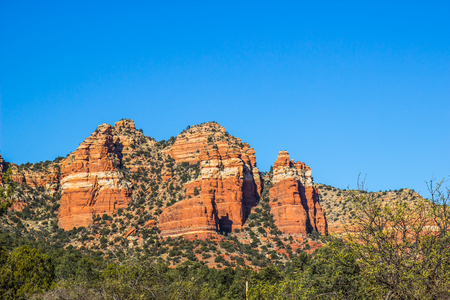 Red Rock Mountains With Geological Layers In Arizona