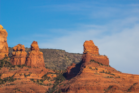 Jagged Peaks Rising From Red Rock Mountains In Arizona