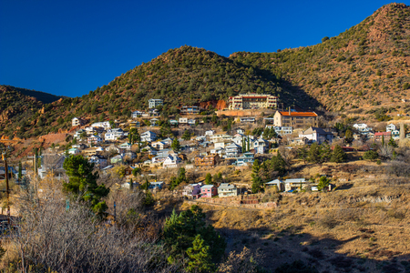Retro Mining Town Built On Side Of Mountain In Arizona