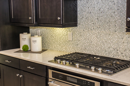 Modern Kitchen Counter With Stove & Decorator Items