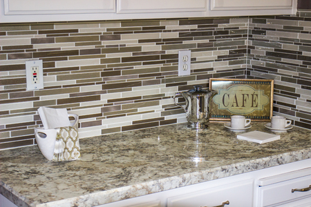 Modern Kitchen Counter & Backsplash With Decorator Items