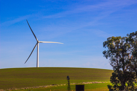 Three Bladed Energy Producing Windmill On Grassy Knoll