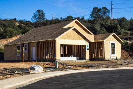 Framing & Roof Sheathing On Brand New Home Under Construction